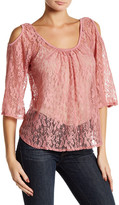 Hip Lace Cold Shoulder Blouse