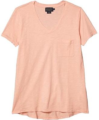 Pendleton V-Neck Pocket Cotton Tee (Coral Pink) Women's T Shirt