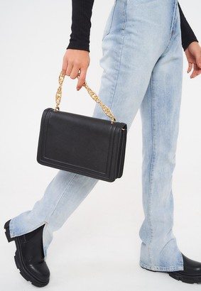 Missguided Black Padded Twist Chain Handle Bag