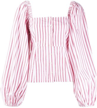Ganni Pouf Sleeve Striped Blouse