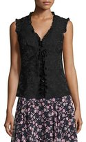 Nanette Lepore Sleeveless Paisley Ruffle-Trim Blouse, Black