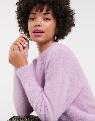 Monki crew neck textured oversized jumper in lilac-Purple