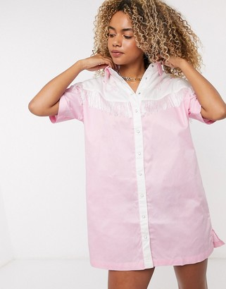 Lazy Oaf western shirt dress with fringing and embroidery