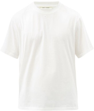 Craig Green Embroidered-hole Cotton-jersey T-shirt - White