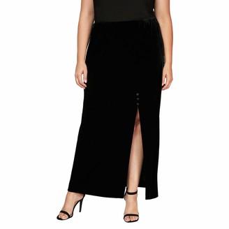 Alex Evenings Women's Size Long Skirt with Button Detail Side Slit Petite Regular
