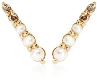 Anna Sheffield Pave Pointe 14kt gold earrings with pearls and diamonds
