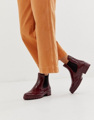 Buffalo David Bitton rubber ankle boots in burgandy-Red