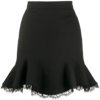 Alexander McQueen Lace-Trim Ruffled Skirt