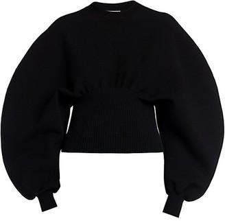 Bottega Veneta Compact Wool-Blend Puff-Sleeve Sweater