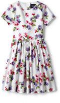 Lands' End Little Girls Twirl Dress-Rich Red Stripe