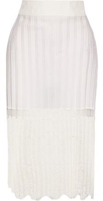 Stella McCartney Elisha Pleated Cotton-blend And Embroidered Tulle Skirt