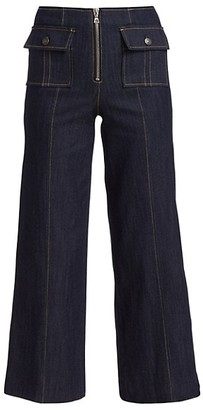Cinq à Sept Azure Front High-Rise Wide-Leg Crop Jeans