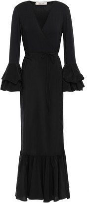 Diane von Furstenberg Katerina Fluted Jersey And Silk-satin Maxi Wrap Dress