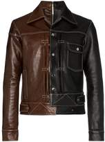 Nounion Two-tone contrast leather jacket