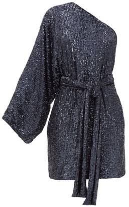 Dundas One-shoulder Sequinned Mini Dress - Navy