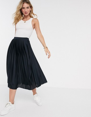 Asos DESIGN choppy hem pleated midi skirt in navy