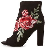 Charlotte Russe Wide Width Rose Embroidered Peep Toe Ankle Boots