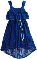 Sweet Heart Rose Turquoise Crochet Hi-Low Dress -Toddler & Girls