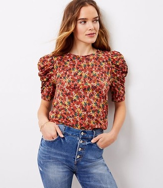 LOFT Floral Cinched Puff Shoulder Top