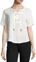 MICHAEL Michael Kors Lace-Up Grommet Tee, Cream