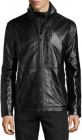 Andrew Marc Salem Zip-Front Leather Jacket, Jet Black