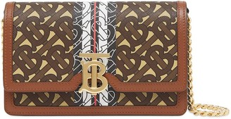 Burberry Small Monogram Stripe Wallet On Chain