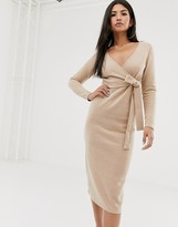 Asos Design DESIGN super soft wrap front midi dress in camel