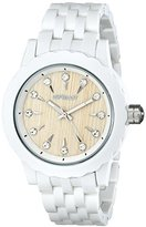 Sprout Women's ST/6803CLWT Swarovski Crystal Accented Bamboo Dial White Corn Resin Bracelet Watch