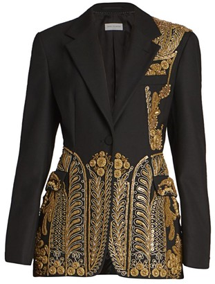 Dries Van Noten Long Embroidered Military Wool-Blend Jacket