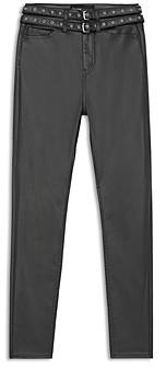 The Kooples Belted Coated Slim Leg Jeans in Black