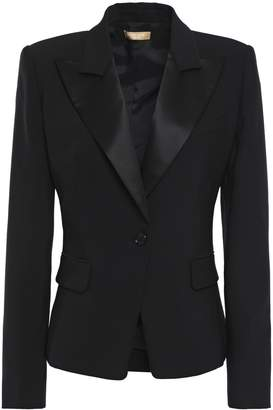 Michael Kors Satin-trimmed Wool-blend Crepe Blazer