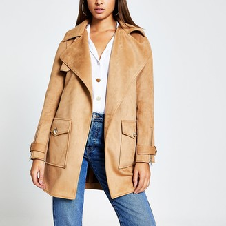 River Island Brown suedette pocket front jacket