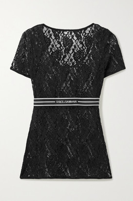 Dolce & Gabbana Jacquard-trimmed Lace Top - Black