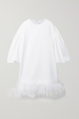 Huishan Zhang Poppy Feather-trimmed Crepe Mini Dress - White