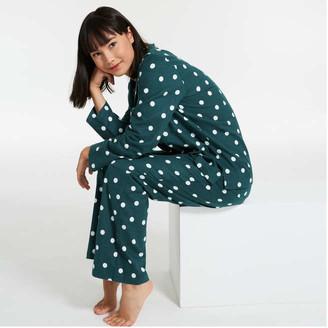 Joe Fresh Women's 2 Piece Print Flannel Sleep Set, Green (Size XS)