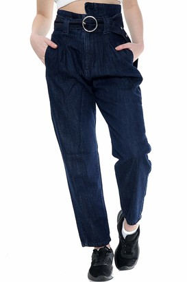 Storm Island Ladies Belted Denim Trouser Cotton Jeans high Waisted Trousers Size 6 8 10 12 14 16 (Dark Denim UK 12= EU 40)