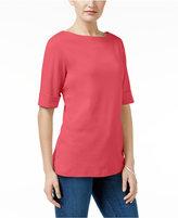 Karen Scott Petite Elbow-Sleeve Cotton Boat-Neck Top, Only at Macy's
