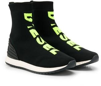 Diesel logo print hi-top sneakers