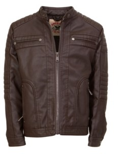 Jgv Apparel American Culture Men's Vegan Faux Leather Zip Front Moto with Sherpa Body Lining