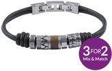 Fossil Mens Leather Bracelet Stainless Steel Roundels And Adjustable Closure
