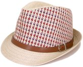 TrendsBlue Multicolor Cowboy Cowgirl Fedora Straw Hat w/ Leather Band