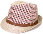 TrendsBlue Multicolor Cowboy Cowgirl Fedora Straw Hat w/ Leather Band