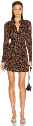 Nicholas High Neck Ruffle Mini Dress in Persimmon Multi   FWRD