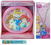 "3 Item Gift Set Disney Princess Wall Clock (10""), Disney Princess Necklace Dog Tag and Ruler, Features Cinderella, Belle From Beauty and the Beast, and Ariel - Best Christmas Gifts and Stocking Stuffers for Girls"