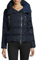 Moncler Talia Asymmetric-Zip Puffer Jacket, Navy