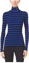 Michael Kors Striped Stretch-Knit Turtleneck