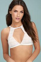 MinkPink Aurora White Lace Bikini Top
