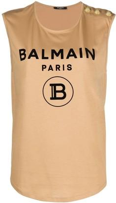 Balmain logo detail tank top