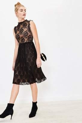 Oasis Womens Black Lace Pleated Dress - Black