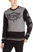 Southpole Men's Long Sleeve Tee in Marled Color Block with Logo on Chest and Arms